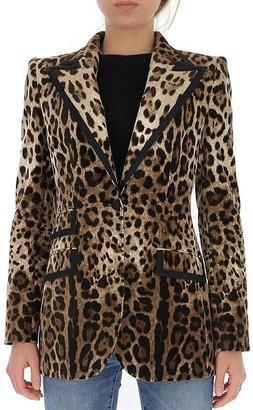 Dolce & Gabbana Leopard Print Single Breasted Blazer