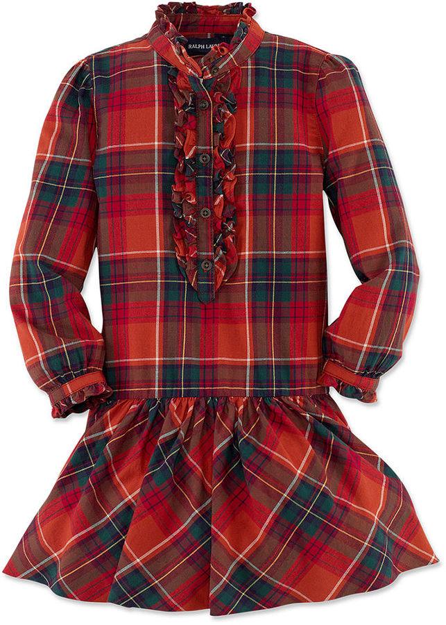 Ralph Lauren Dress, Little Girls Long-Sleeve Little Plaid Shirtdress