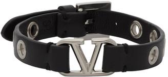 Valentino Black Garavani Calfskin VLogo Eyelet Bracelet