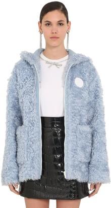 Miu Miu Hooded Faux Fur Zip-up Jacket