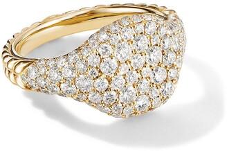 David Yurman 18kt yellow gold mini Chevron Pave diamond pinky ring