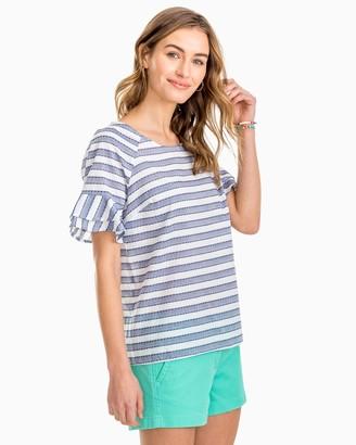 Southern Tide Kelsey Ruffle Sleeve Striped Top