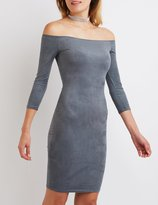 Charlotte Russe Faux Suede Off-The-Shoulder Dress