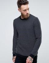 HUGO BOSS HUGO by Srid Sweater Grid Knit in Navy/Black