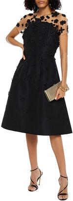 Oscar de la Renta Floral-appliqued Tulle-paneled Silk-faille Dress