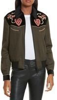 The Kooples Women's Contrast Embroidery Bomber Jacket