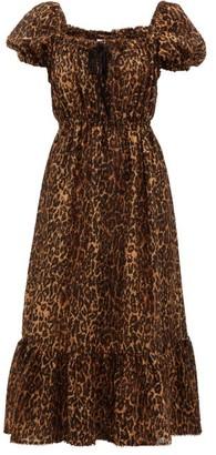 Shrimps Neptune Leopard-print Fil-coupe Dress - Leopard