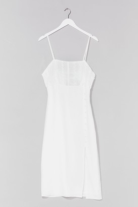 Nasty Gal Womens Feels Sew Good Broderie Anglaise Midi Dress - White - 4