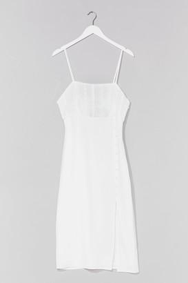 Nasty Gal Womens Feels Sew Good Broderie Anglaise Midi Dress - White
