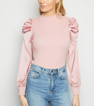 New Look Cameo Rose Satin Sleeve High Neck Jumper