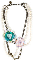 Lanvin Multistrand Pearl Flower Necklace w/ Tags