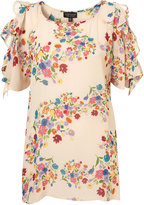 Cream Bright Floral Long Line Blouse