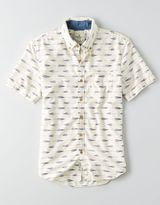 American Eagle AEO Ikat Print Short Sleeve Shirt