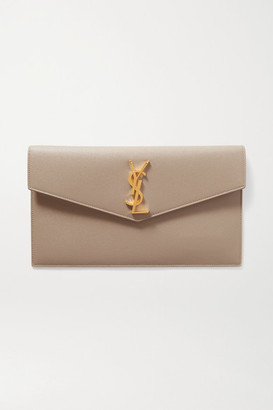 Saint Laurent Uptown Textured-leather Pouch - Beige