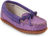 Minnetonka Toddler Girls) Purple Glitter Moccasins