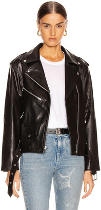 RtA Eryn Leather Jacket in Black Wet | FWRD