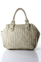 Deux Lux Beige Woven Leather Gold Tone Embellished Round Large Satchel Handbag