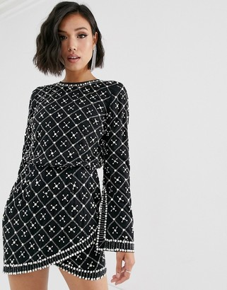 Asos DESIGN mini dress with long sleeve in pearl and beaded embellishment