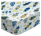 SheetWorld Fitted Pack N Play (Graco) Sheet - Rocket Ships Blue - Made In USA - 27 inches x 39 inches (68.6 cm x 99.1 cm)