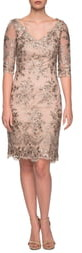 La Femme Embroidered Lace Sheath Dress