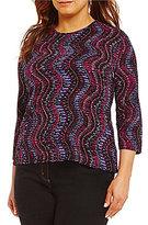 Allison Daley Plus Crew Neck 3/4 Sleeve Printed Top