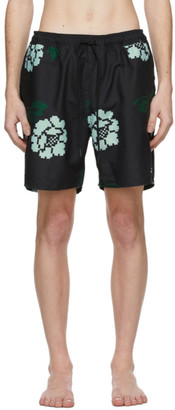 Saturdays NYC Black Timothy Rose Swim Shorts
