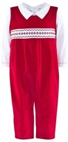 Kissy Kissy Red Velour Dungarees and White Body 2 Piece Set
