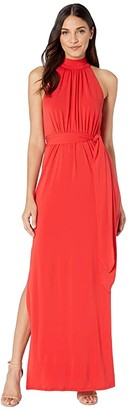 Halston Mock Neck Jersey Gown (Lipstick) Women's Dress