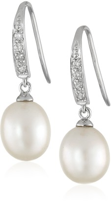 Bella Pearl Dangling Cubic Zirconia Pearl Shepherd Hook Drop Earrings