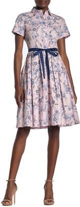 Donna Morgan Short Sleeve Stretch Cotton Dress