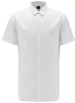 BOSS Short-sleeved slim-fit shirt in Oxford cotton