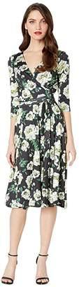 Unique Vintage 1940s Style Kelsie Wrap Dress (Black/Ivory Floral) Women's Dress