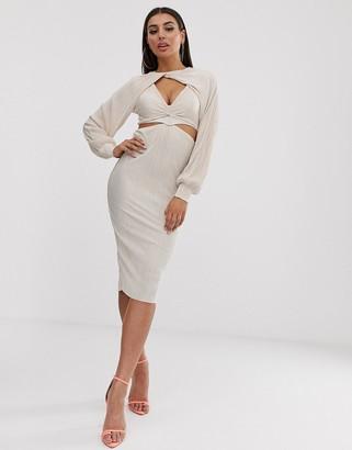 Asos Design DESIGN twist detail balloon sleeve plisse midi dress-Beige