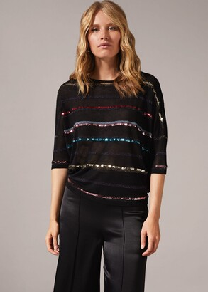 Phase Eight Sandy Sequin Stripe Knit Top