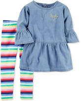 Carter's 2-Pc. Chambray Top and Striped Leggings Set, Baby Girls