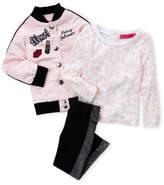 Betsey Johnson Toddler Girls) 3-Piece Patch Bomber Jacket, Lip Top & Metallic Leggings Set