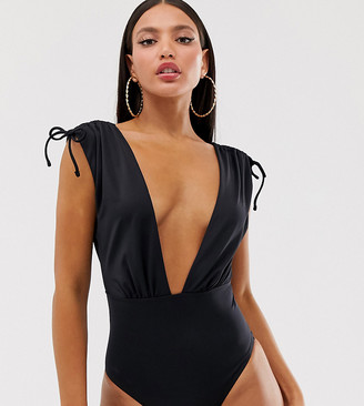 Asos Tall ASOS DESIGN Tall recycled ruched shoulder plunge swimsuit in black
