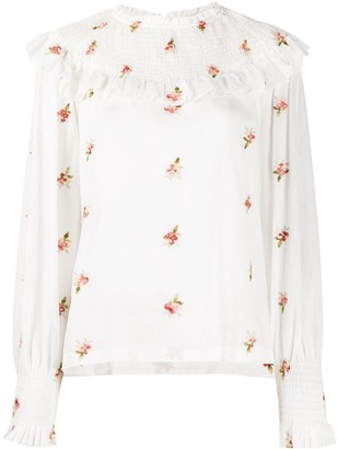 Masscob Floral-Print Smocked Blouse