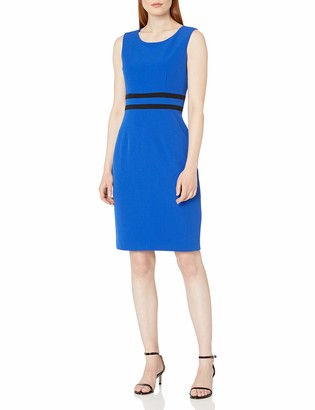 Kasper Women's Sleeveless Jewel Neck Sheath Dress with Waist Piping Detail