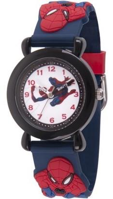 Marvel Spider-Man Boys' Black Plastic Time Teacher Watch, Spider-Man 3D Strap