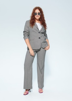 MANGO Violeta BY Gingham blazer black - M - Plus sizes