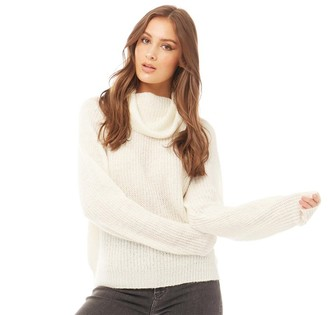 Brave Soul Womens Harribo Cowl Neck Jumper Ivory