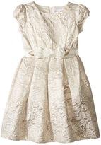 Us Angels Brocade Short Sleeve Princess Bodice Empire Dress (Toddler/Little Kids)