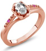 Gem Stone King 0.52 Ct Oval White Topaz Pink Sapphire 14K Rose Gold Ring