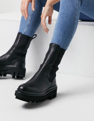 AllSaints Billie tall chunky leather Chelsea boots in black