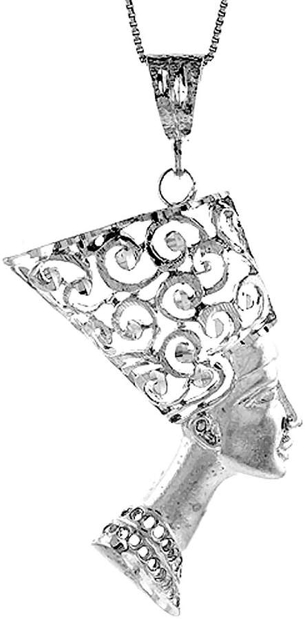Sabrina Silver Sterling Silver Large Queen Nefertiti of Egypt Pendant, 2 5/16 inch