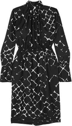 Marc Jacobs Gathered Printed Silk-twill Dress
