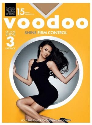 Voodoo Shine Firm Control Sheers 15 Denier 3 Pack Dark Brown