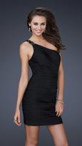 La Femme One Shoulder Asymmetrical Neckline Short Jersey Dress 16910