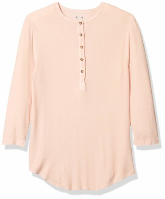 Three Dots Women's Viscose Ribbed Henely Shirt